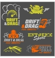 Drift Drag racing Tuning Motor Sport - Set of vector image