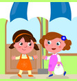 girls meeting to do shopping vector image