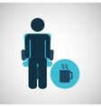 silhouette sitting business cup coffee icon vector image