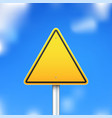triangle road sign on blue sky background vector image