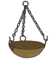 Old brass magical cauldron vector image