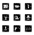 Witchery icons set grunge style vector image