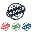 Round Prague city stamp set vector image