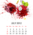 calendar with fruit for 2012 july vector image vector image