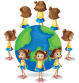 Girl in different angle of the world vector image