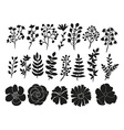 hand drawn floral elements set vector image