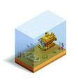 bathyscaph underwater isometric composition vector image