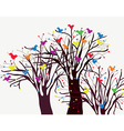 Greeting card with trees and birds vector image