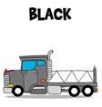 Transportation of black truck cartoon vector image