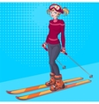 Winter holidays Beautiful young girl on ski vector image