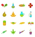 Medical marijuana icons set cartoon style vector image