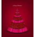 Christmas red background with tree vector image