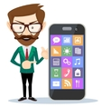 Man showing on his smartphone vector image