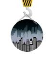 building construction crane hanging badge vector image