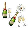 Closed open champagne bottle and glasses vector image