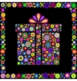 colorful gift box on black background vector image