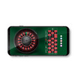 realistic casino roulette wheel with chips vector image
