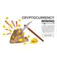rock with gold coins bitcoin vector image