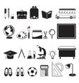 School Supplies Icons Set Monochrome vector image