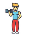 strong man doing exercises with weights in gym vector image