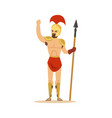 warrior character naked man in a helmet and a vector image