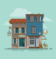 detailed hostel and bar building facade vector image