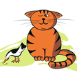 funny cat and bird vector image vector image