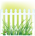 a fragment of white fence and grass vector image vector image