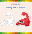 Scorpion coloring book educational game vector image
