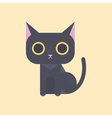 Cute black cat in flat style vector image vector image