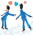 Couple skating vector image