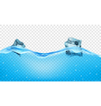 Ice cubes in transparent blue waves vector image