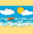 origami boat from paper travel concept vector image