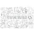 summer hand drawn icons set vector image