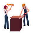 two construction workers builders - one measuring vector image