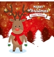 funny reindeer card christmas red background with vector image