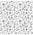 seamless pattern with doodle sketch flowers can vector image