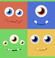 set of cartoon monster faces with different vector image