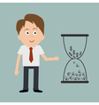 Businessman and big hourglass with dollar and euro vector image
