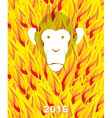 New year 2016 Monkey on flame background Year of vector image