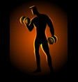 bodybuilder lifting dumbbells vector image