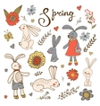 Cute hand drawn collection of bunnies rabbits and vector image