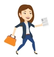 Happy business woman running vector image