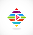 play video colorful line logo vector image