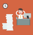stressed businessman at the desk vector image