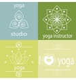 yoga icons in green vector image