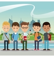 group students boys back school urban background vector image