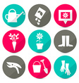 Gardening Icons - Tools Set in Retro Style - Flat vector image vector image