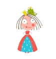 Little Princess Standing with Prince Frog Sitting vector image
