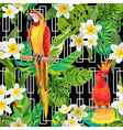 Tropical Flowers and Birds Geometric Background vector image